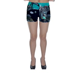 Cute Mermaid Playing With Orca Skinny Shorts