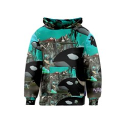 Cute Mermaid Playing With Orca Kid s Pullover Hoodies