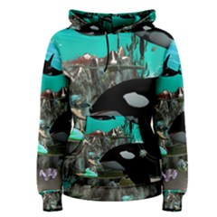 Cute Mermaid Playing With Orca Women s Pullover Hoodies