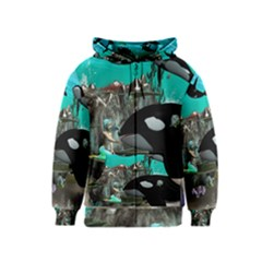 Cute Mermaid Playing With Orca Kids Zipper Hoodies