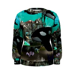 Cute Mermaid Playing With Orca Women s Sweatshirts