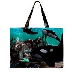 Cute Mermaid Playing With Orca Zipper Tiny Tote Bags