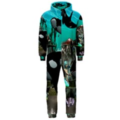 Cute Mermaid Playing With Orca Hooded Jumpsuit (Men)