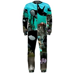 Cute Mermaid Playing With Orca Onepiece Jumpsuit (men)