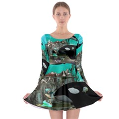 Cute Mermaid Playing With Orca Long Sleeve Skater Dress