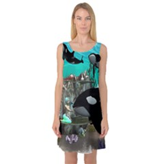 Cute Mermaid Playing With Orca Sleeveless Satin Nightdresses