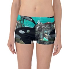 Cute Mermaid Playing With Orca Boyleg Bikini Bottoms