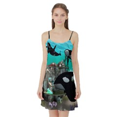 Cute Mermaid Playing With Orca Satin Night Slip