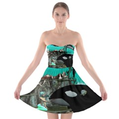 Cute Mermaid Playing With Orca Strapless Bra Top Dress