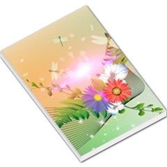 Wonderful Colorful Flowers With Dragonflies Large Memo Pads