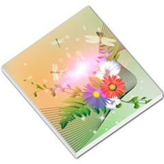 Wonderful Colorful Flowers With Dragonflies Small Memo Pads