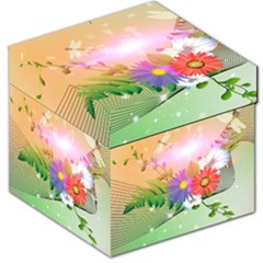 Wonderful Colorful Flowers With Dragonflies Storage Stool 12