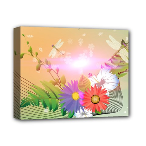 Wonderful Colorful Flowers With Dragonflies Deluxe Canvas 14  X 11