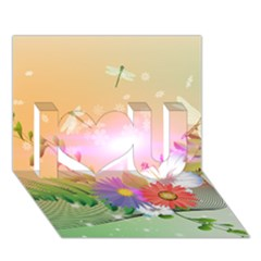 Wonderful Colorful Flowers With Dragonflies I Love You 3D Greeting Card (7x5)