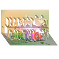 Wonderful Colorful Flowers With Dragonflies Happy Birthday 3d Greeting Card (8x4)