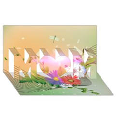 Wonderful Colorful Flowers With Dragonflies MOM 3D Greeting Card (8x4)