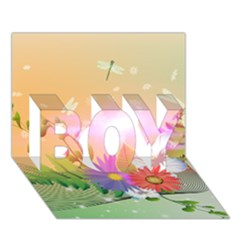 Wonderful Colorful Flowers With Dragonflies Boy 3d Greeting Card (7x5)