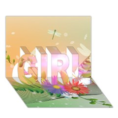 Wonderful Colorful Flowers With Dragonflies GIRL 3D Greeting Card (7x5)