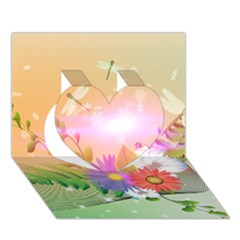 Wonderful Colorful Flowers With Dragonflies Heart 3D Greeting Card (7x5)