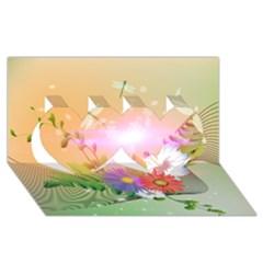 Wonderful Colorful Flowers With Dragonflies Twin Hearts 3D Greeting Card (8x4)