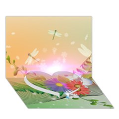 Wonderful Colorful Flowers With Dragonflies Heart Bottom 3D Greeting Card (7x5)