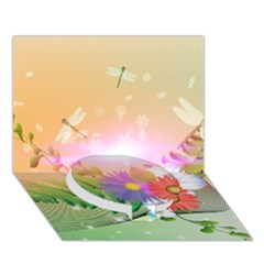 Wonderful Colorful Flowers With Dragonflies Circle Bottom 3D Greeting Card (7x5)