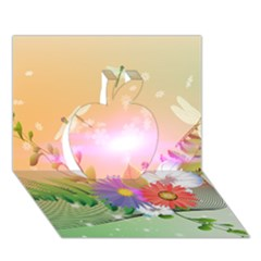 Wonderful Colorful Flowers With Dragonflies Apple 3d Greeting Card (7x5)
