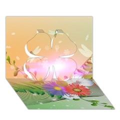 Wonderful Colorful Flowers With Dragonflies Clover 3d Greeting Card (7x5)