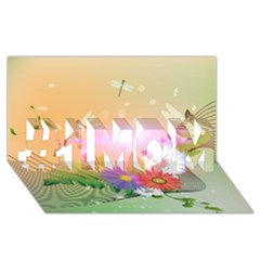 Wonderful Colorful Flowers With Dragonflies #1 MOM 3D Greeting Cards (8x4)