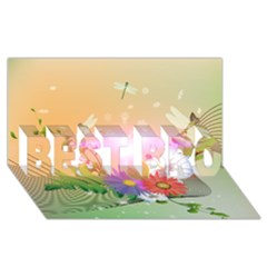 Wonderful Colorful Flowers With Dragonflies BEST BRO 3D Greeting Card (8x4)