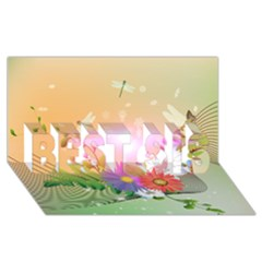 Wonderful Colorful Flowers With Dragonflies Best Sis 3d Greeting Card (8x4)