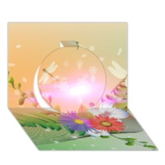 Wonderful Colorful Flowers With Dragonflies Circle 3d Greeting Card (7x5)