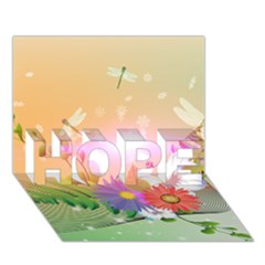 Wonderful Colorful Flowers With Dragonflies HOPE 3D Greeting Card (7x5)