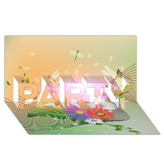 Wonderful Colorful Flowers With Dragonflies PARTY 3D Greeting Card (8x4)