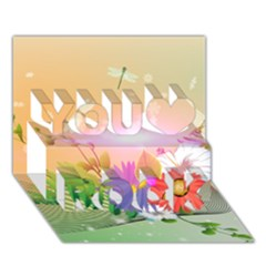 Wonderful Colorful Flowers With Dragonflies You Rock 3D Greeting Card (7x5)