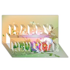 Wonderful Colorful Flowers With Dragonflies Happy New Year 3d Greeting Card (8x4)