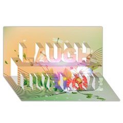 Wonderful Colorful Flowers With Dragonflies Laugh Live Love 3D Greeting Card (8x4)