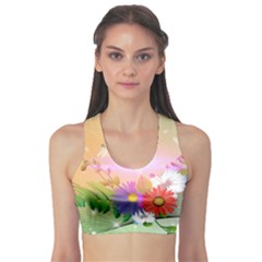 Wonderful Colorful Flowers With Dragonflies Sports Bra