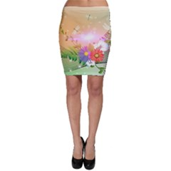 Wonderful Colorful Flowers With Dragonflies Bodycon Skirts