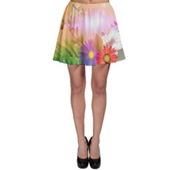Wonderful Colorful Flowers With Dragonflies Skater Skirts