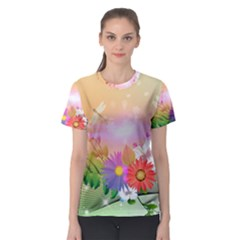 Wonderful Colorful Flowers With Dragonflies Women s Sport Mesh Tees
