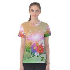 Wonderful Colorful Flowers With Dragonflies Women s Cotton Tees