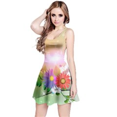 Wonderful Colorful Flowers With Dragonflies Reversible Sleeveless Dresses