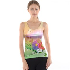Wonderful Colorful Flowers With Dragonflies Tank Tops