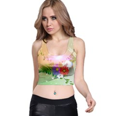 Wonderful Colorful Flowers With Dragonflies Racer Back Crop Tops