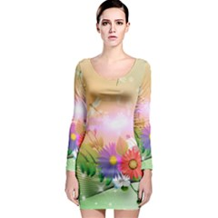 Wonderful Colorful Flowers With Dragonflies Long Sleeve Bodycon Dresses