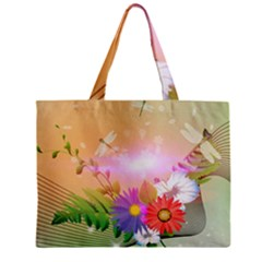 Wonderful Colorful Flowers With Dragonflies Tiny Tote Bags