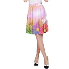 Wonderful Colorful Flowers With Dragonflies A-Line Skirts
