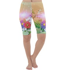 Wonderful Colorful Flowers With Dragonflies Cropped Leggings