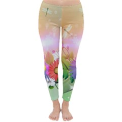 Wonderful Colorful Flowers With Dragonflies Winter Leggings